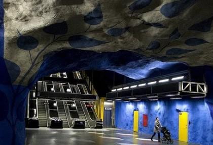 Fotos del arte en las estaciones de metro de Estocolmo