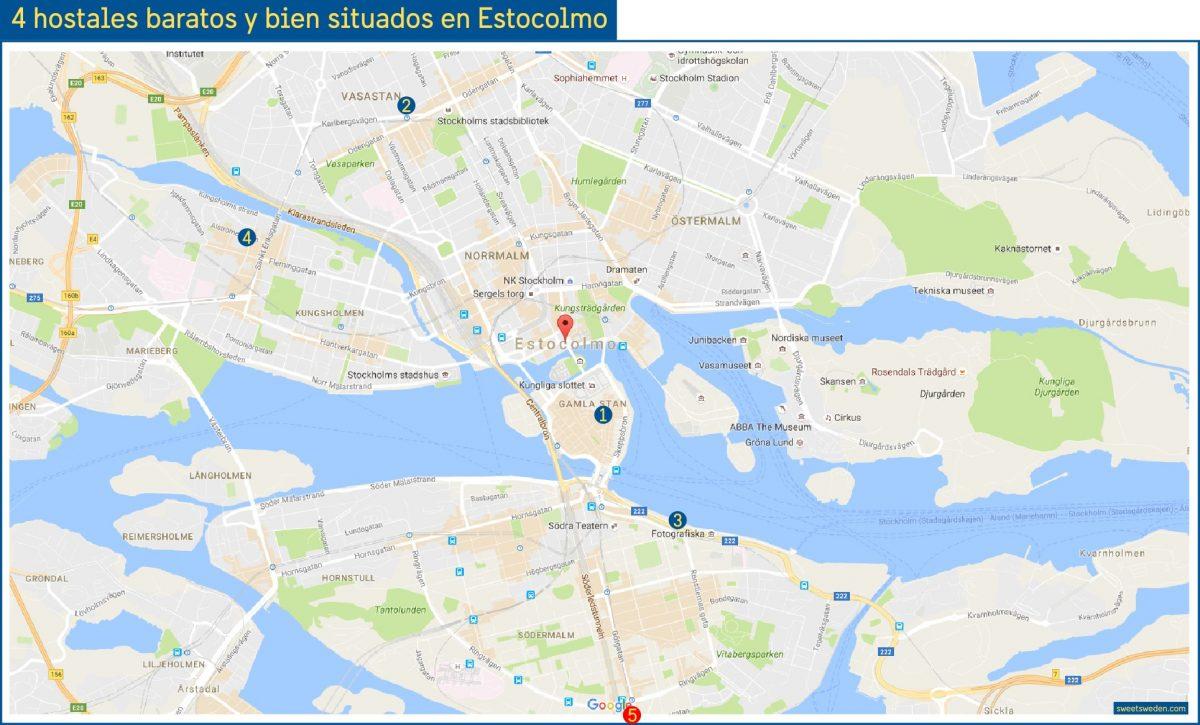 Mapa 4 +1 hostales bien situados y baratos en Estocolmo <br> sweetsweden.com