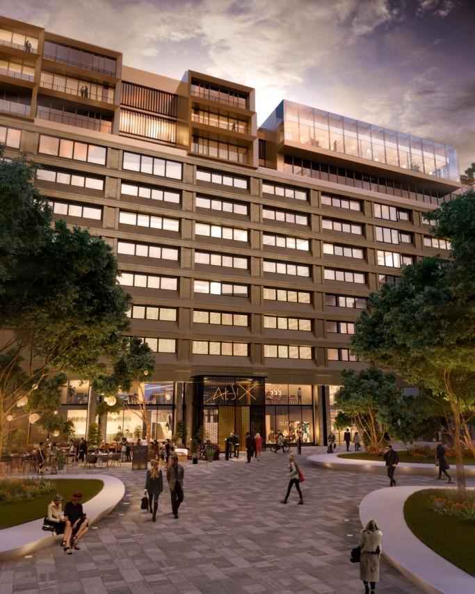 Fachada de At Six el futuro hotel en Brunkebergstorg, Estocolmo