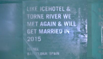 Mi mensaje ganador esculpido en el hotel de hielo en su 25º aniversario