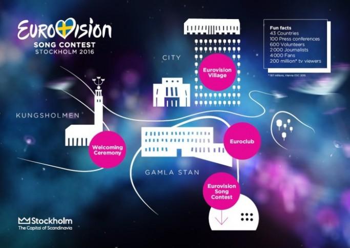 Lugares señalados en Estocolmo durante Eurovision 2016