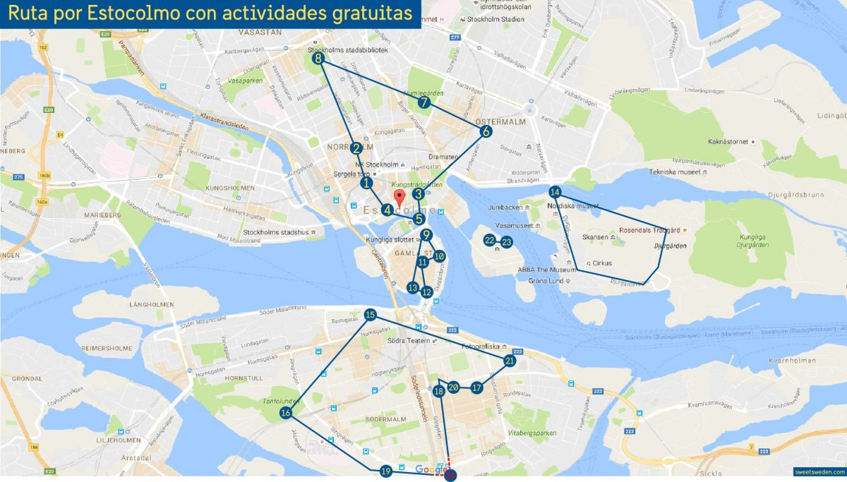 Mapa con 24 actividades gratis en Estocolmo<br>Israel Ubeda / sweetsweden.com