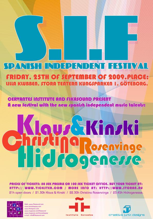 Flyer para el Spanish Independent Festival el 25 de septiembre en Göteborg