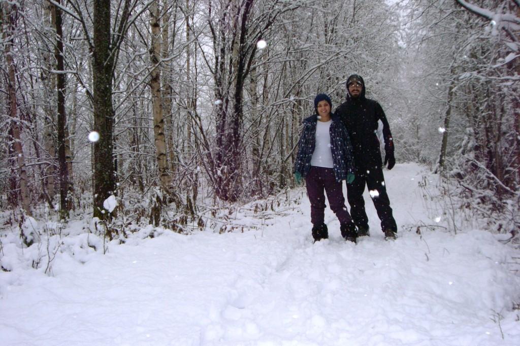 Saleta y José Miguel en pleno invierno sueco