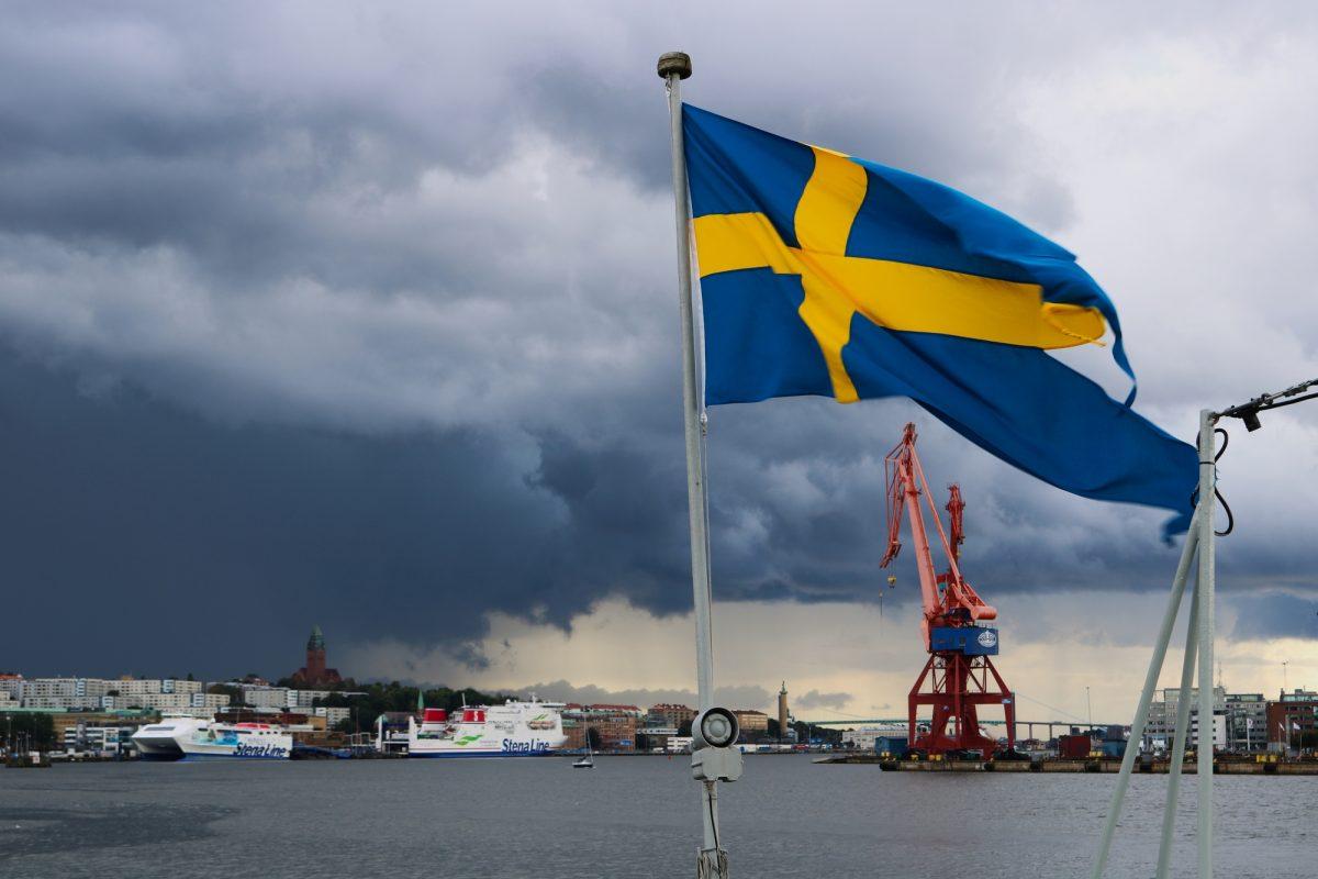 Bandera sueca en Gotemburgo <br> Foto: Israel Úbeda / sweetsweden.com