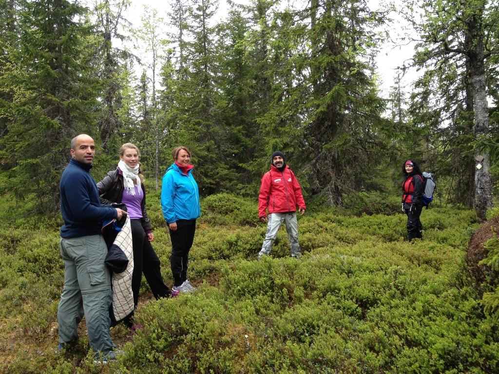 Mezcla hispano-sueca de senderistas por los bosques de Långberget, Värmland, Suecia <br> Foto: Israel Úbeda / sweetsweden.com