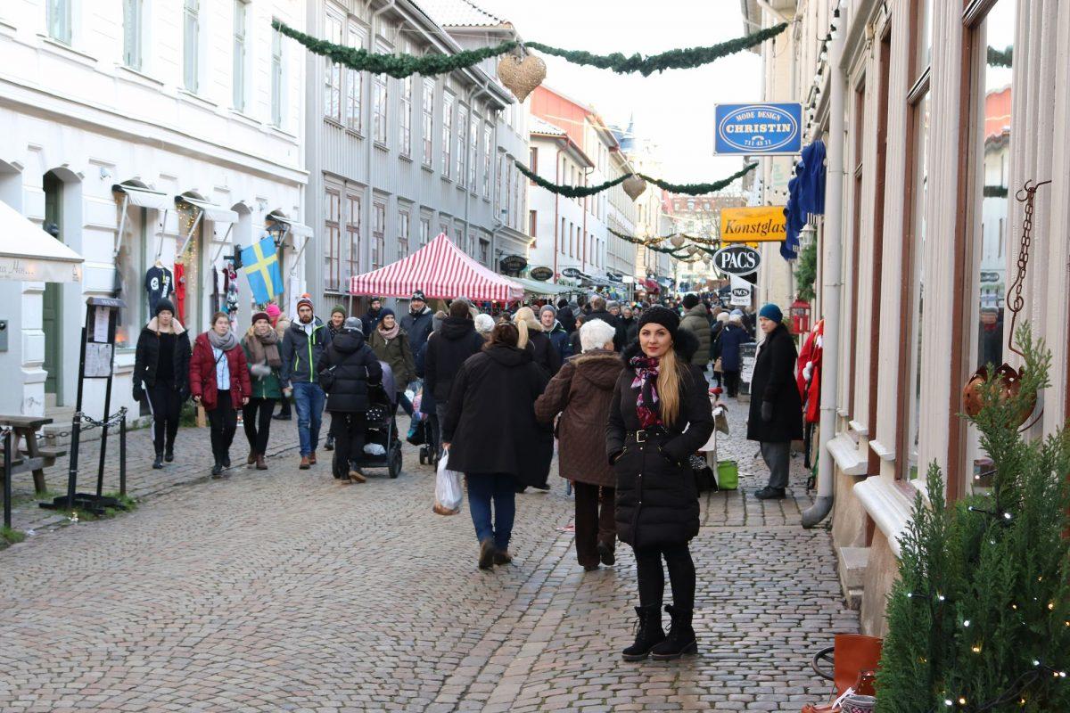 Mi mujer en Haga nygatan en diciembre
