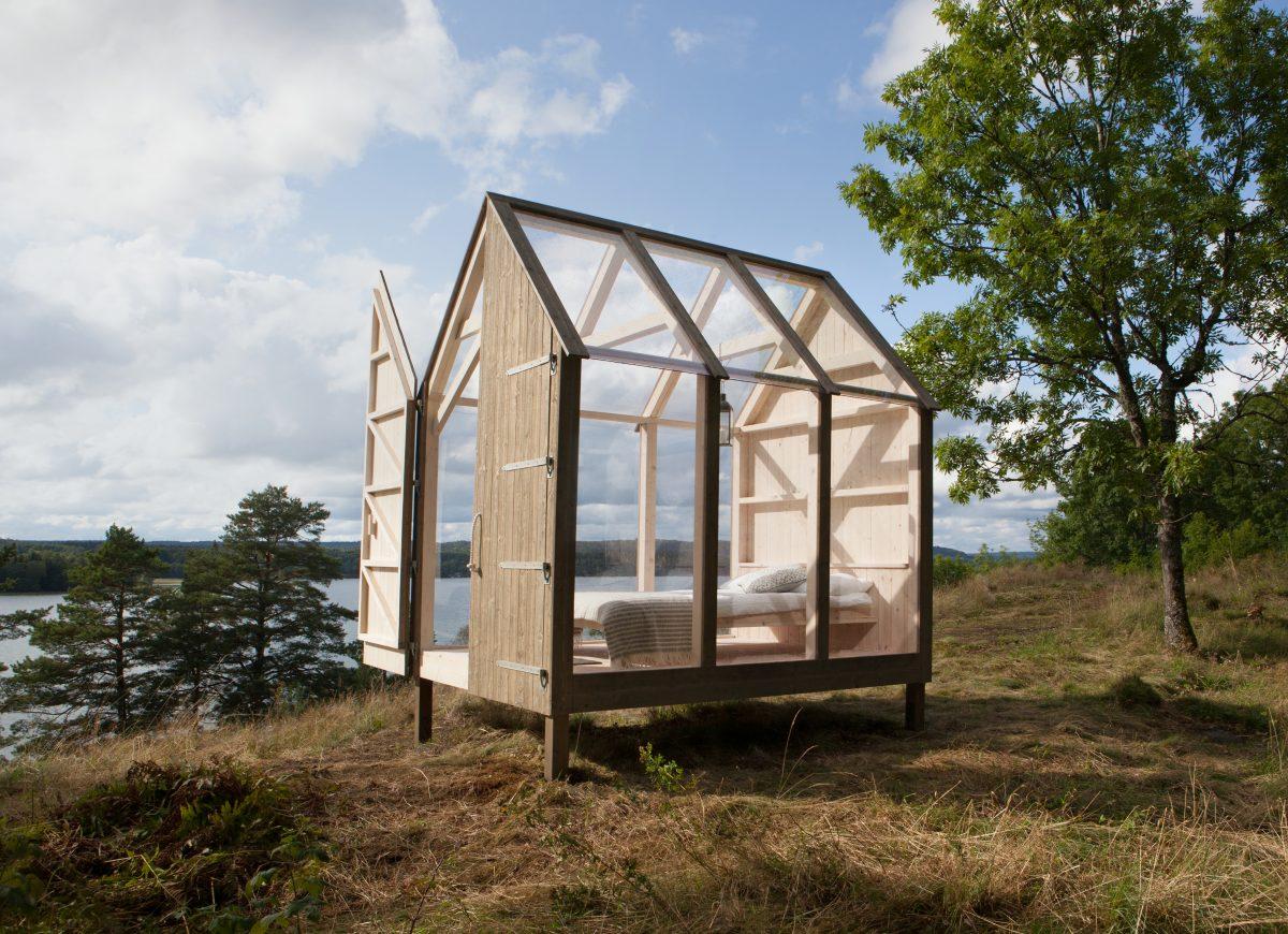 Una de las cinco cabañas de cristal de la campaña 72-Hour Cabin de Suecia <br> Foto: Maja Flink