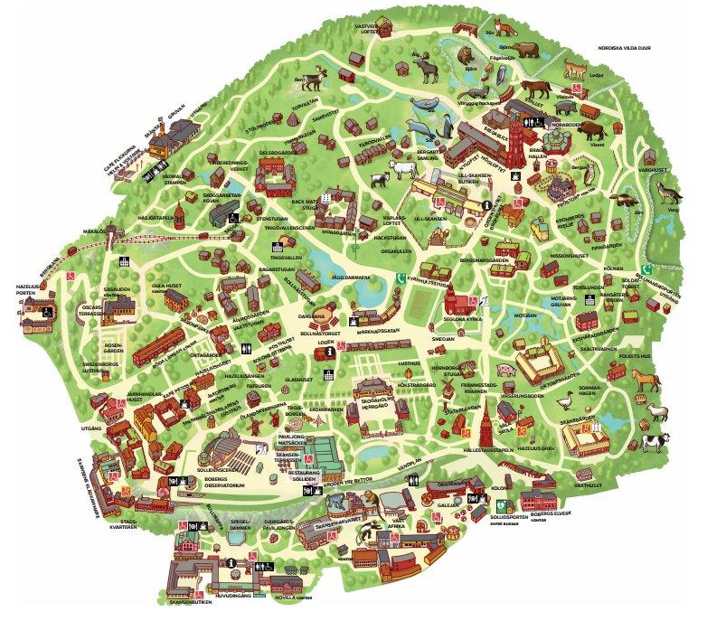 Mapa de Skansen - el museo al aire libre de Estocolmo