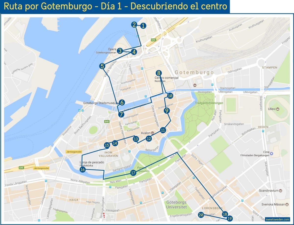 Mapa ruta por Gotemburgo de 3 días - Día 1 <br> sweetsweden.com