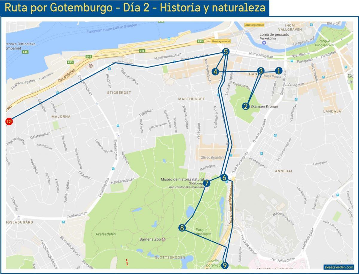 Mapa ruta por Gotemburgo de 3 días - Día 2 <br> sweetsweden.com