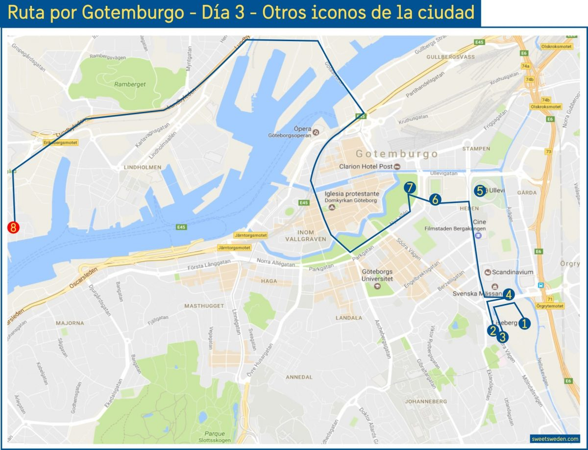 Route map for a 3-day visit to Gothenburg - Day 3