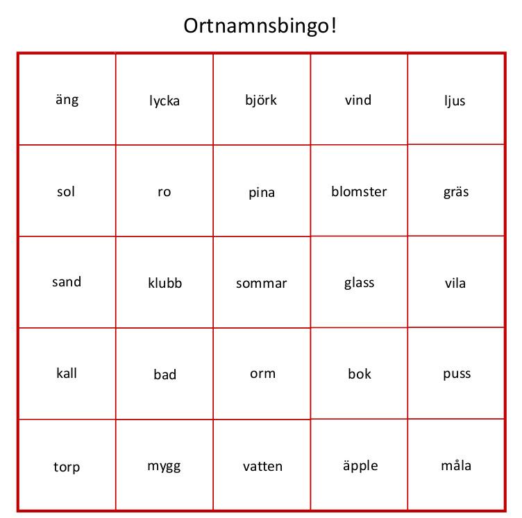 Bingo de topónimos suecos para 2017 del Institutet för Språk och Folkminnen
