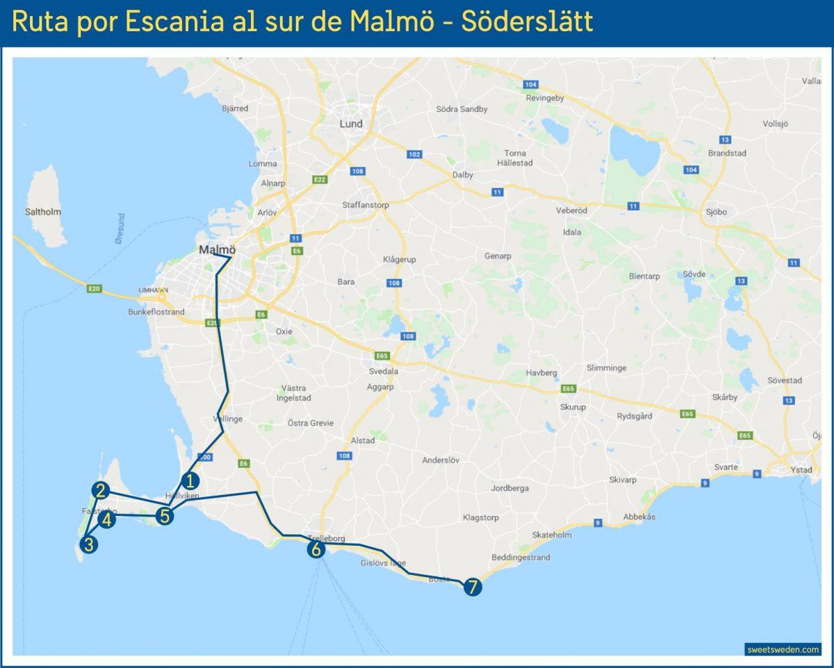 Mapa de la ruta por Escania en la zona de Söderslätt <br> sweetsweden.com