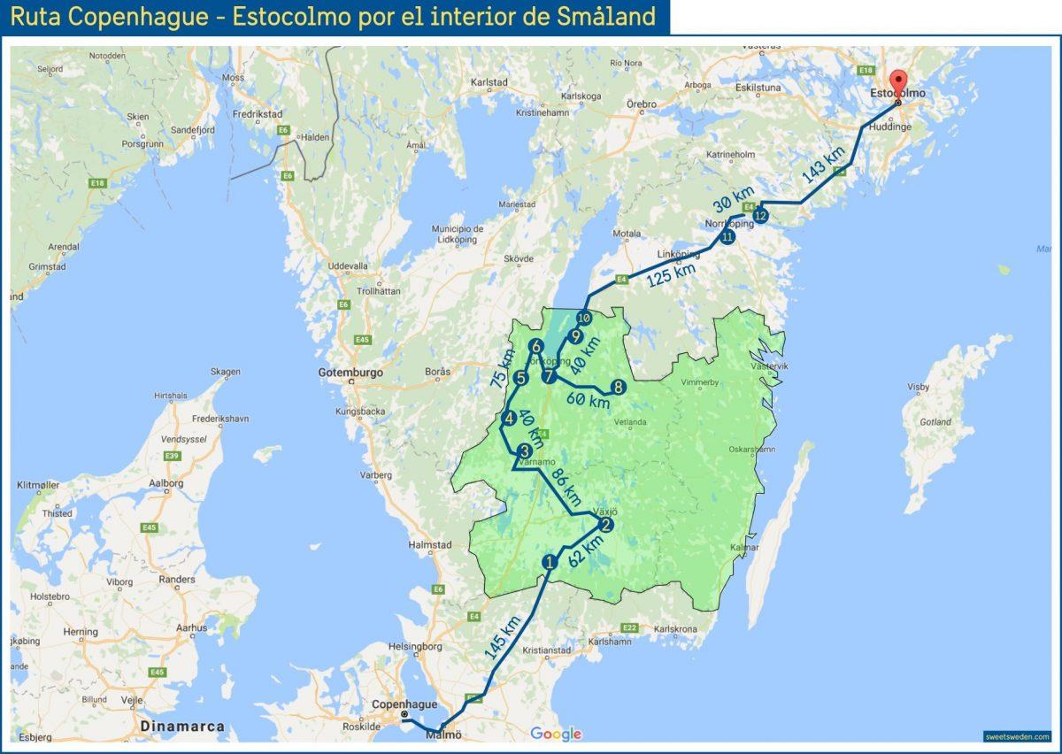 Ruta en coche de Copenhague a Estocolmo por interior Småland <br> sweetsweden.com