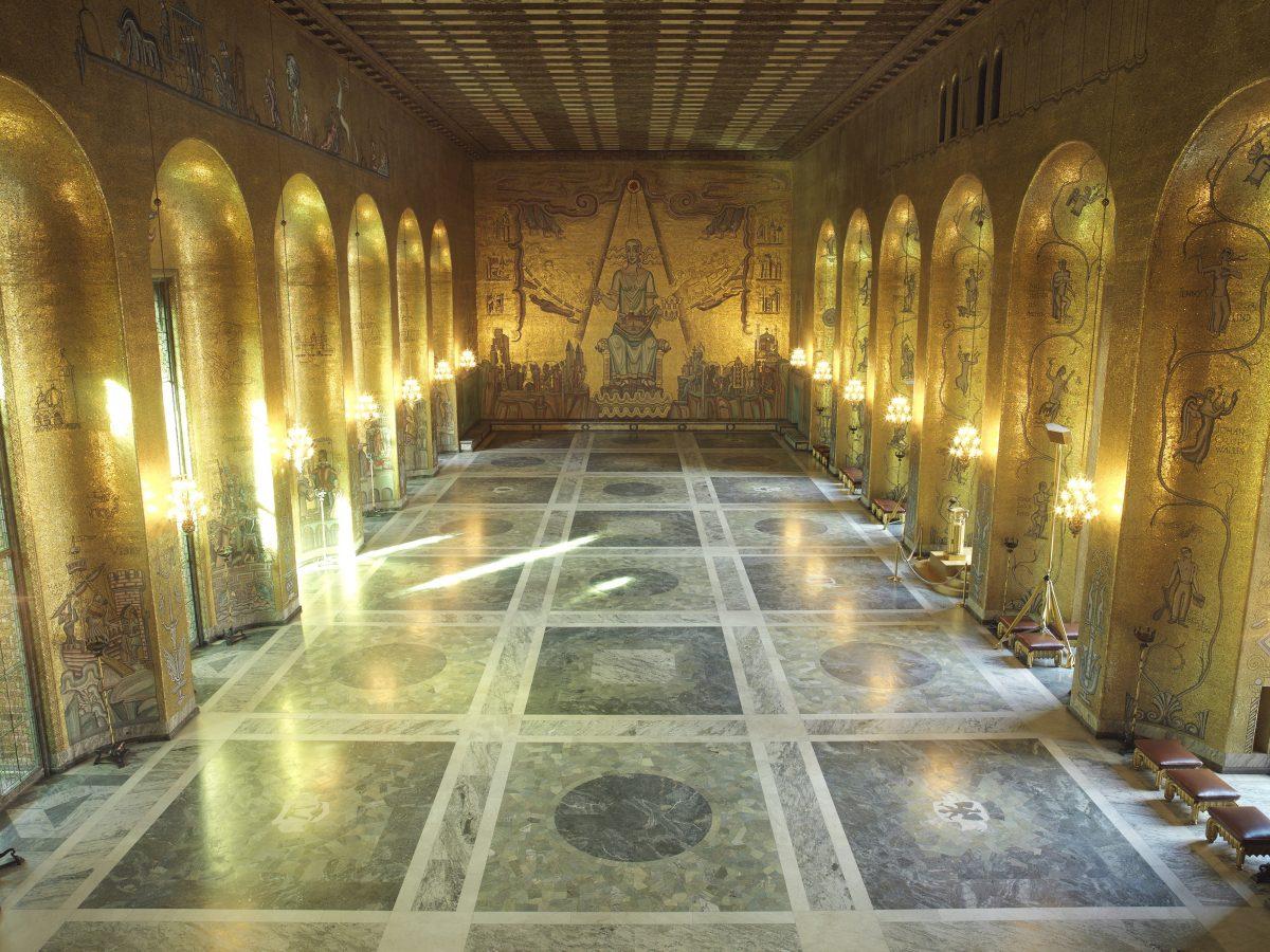Salon dorado del ayuntamiento de Estocolmo <br> Foto: Yanan Li