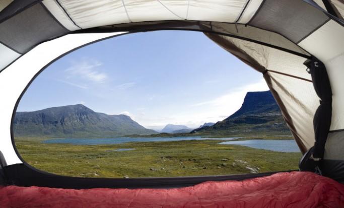 Vista de Lapporten desde tienda Fjällraven Akka / Fjällraven