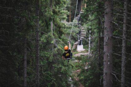 La tirolina más larga de Europa está en Tirolina en Småland, Suecia Foto: Alexander Hall / imagebank.sweden.se