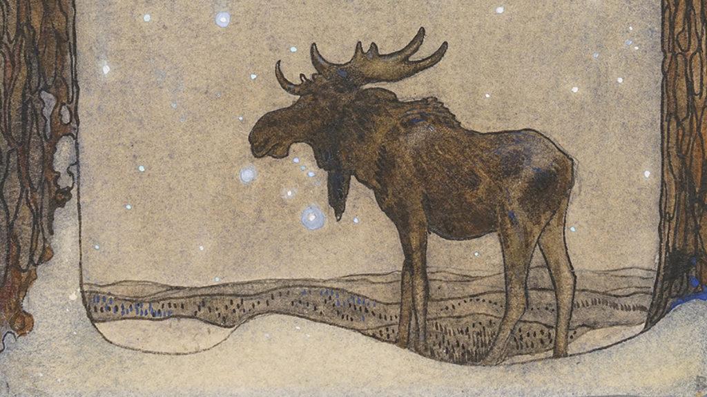 Alce dibujado por el pintor sueco John Bauer <br> Foto: jonkopingslansmuseum.se