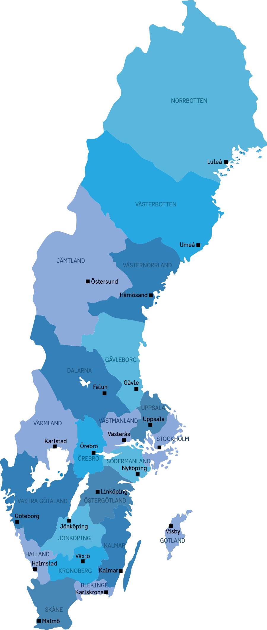 Los 21 condados de Suecia y sus respectivas capitales <br> sweetsweden.com