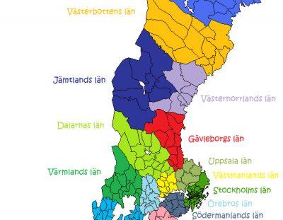 La división de Suecia en regiones, provincias y condados