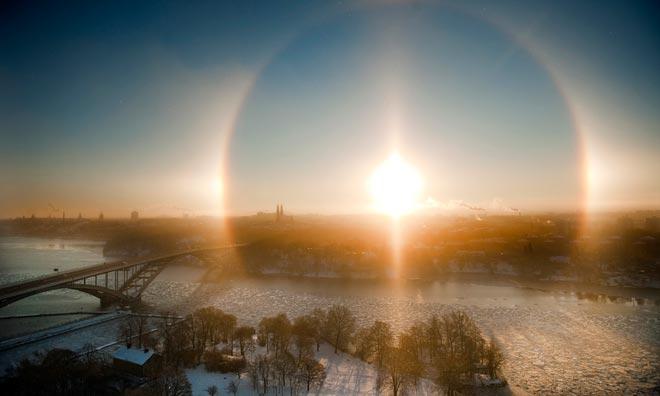 Halo solar sobre Estocolmo