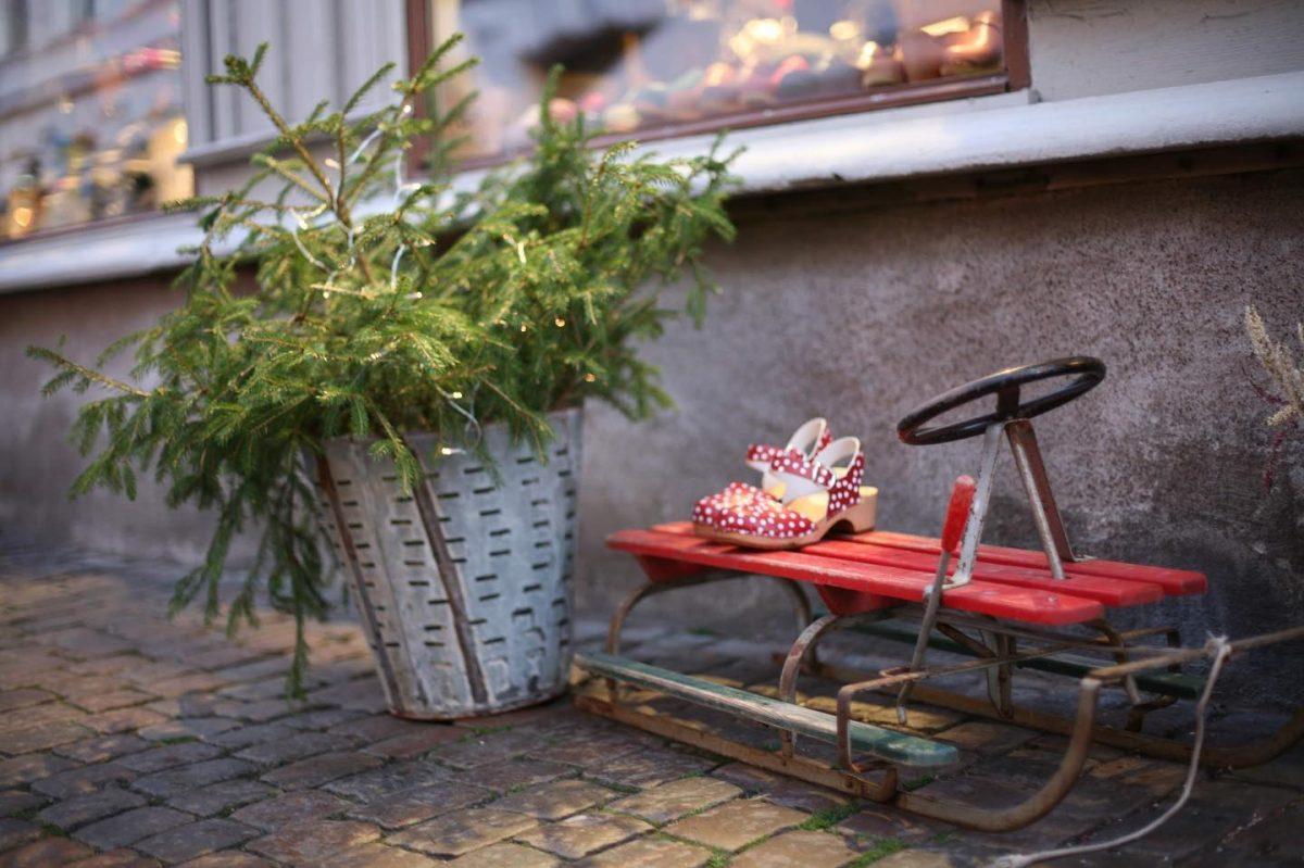 Detalle de un trineo y un abeto en Haga, Gotemburgo <br> Foto: jul i Haga / facebook