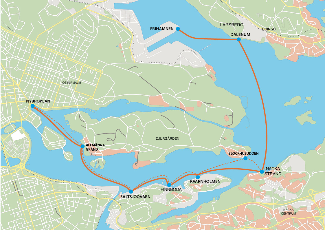 Posible ruta en barco de vuelta a Frihamnen <br> Foto: sjovagen.seq