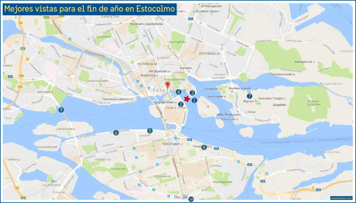 Lugares con vistas a los fuegos artificiales de fin de año en Estocolmo <br> sweetsweden.com