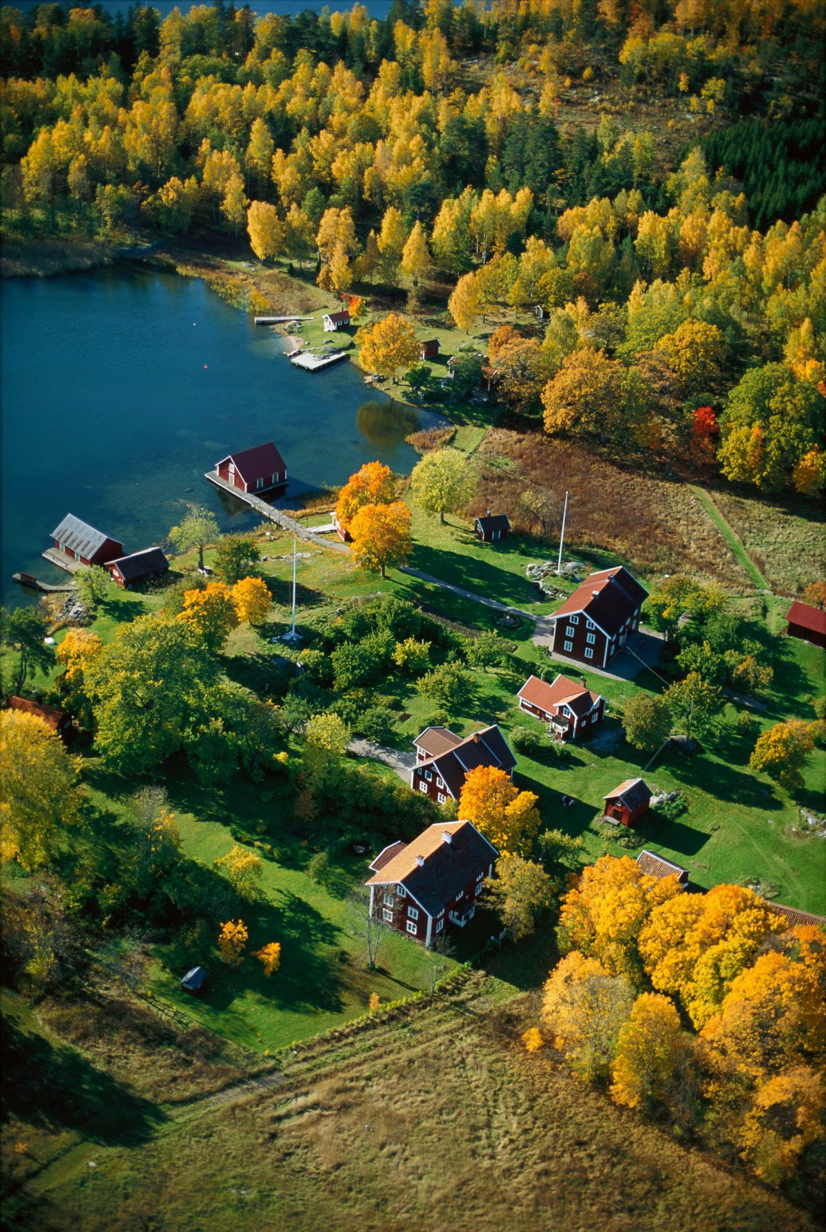Typical Swedish red cottages at Stockholm's Archipelago <br /> Photo: Magnus Rietz / imagebank.sweden.se