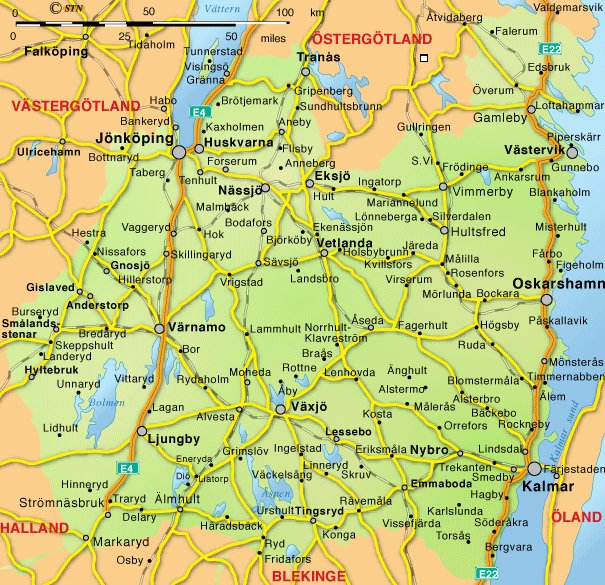 Mapa de la región sueca de Småland