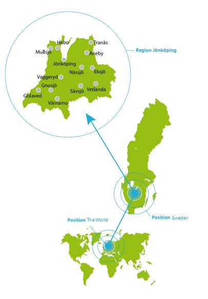 Mapa de los municipios de Småland