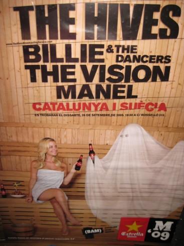 Poster Billie The Vision y The Hives en Barcelona 09/2009