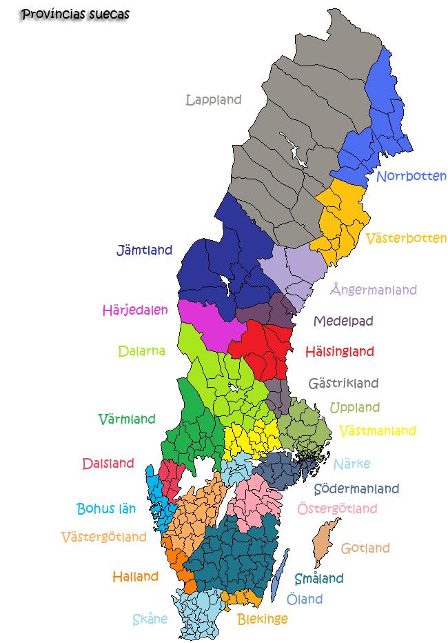 Mapa Politico De Suecia.La Division De Suecia En Regiones Provincias Y Condados