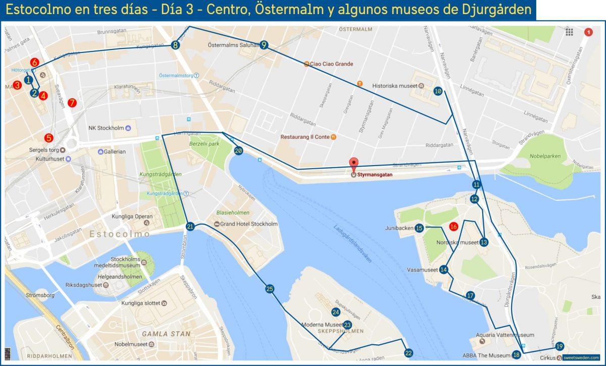 Ruta que ver en tres días en Estocolmo: centro, Östermalm y algunos museos de Djurgården <br> sweetsweden.com