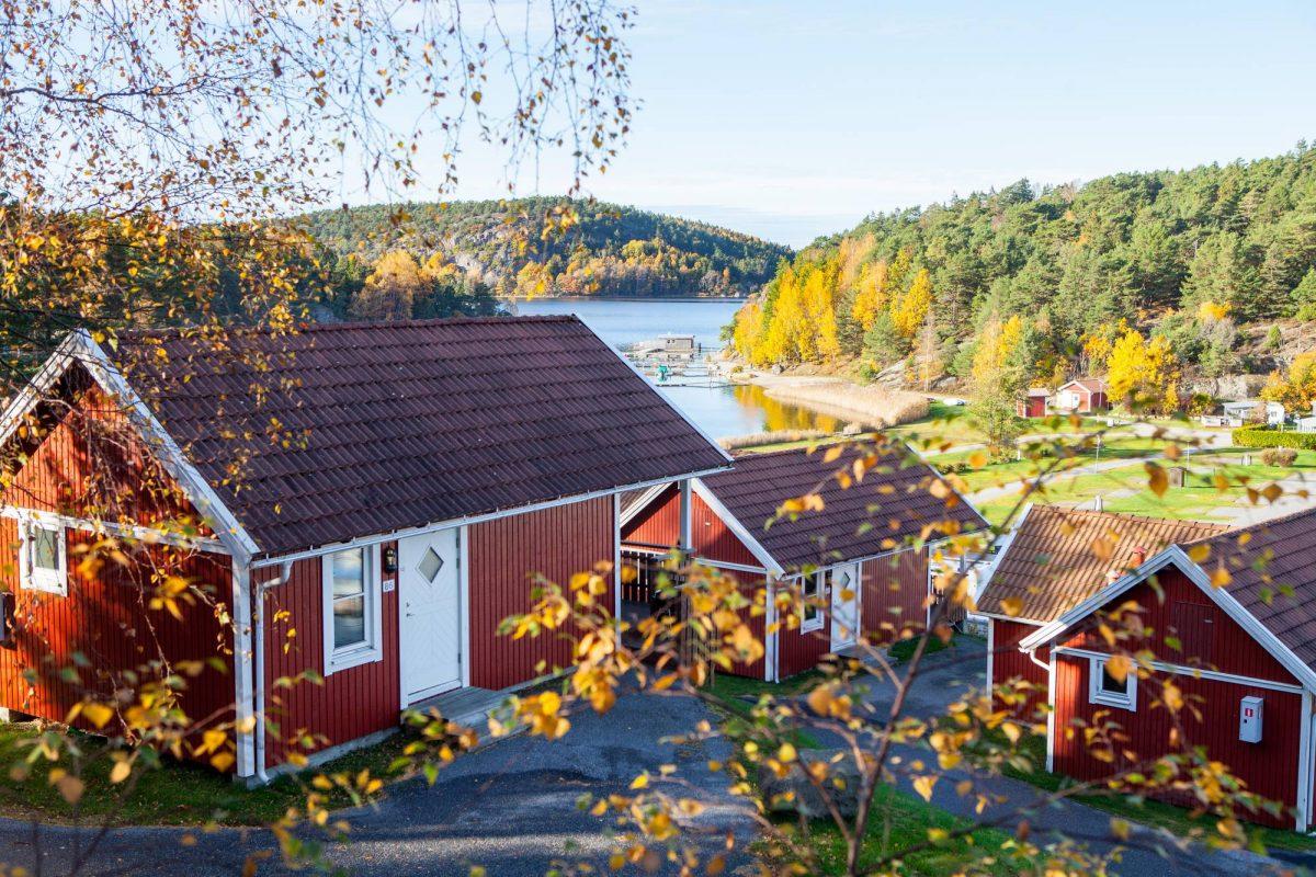 Vista de la zona de casitas del camping Daftör Resort en Strömstad, Suecia