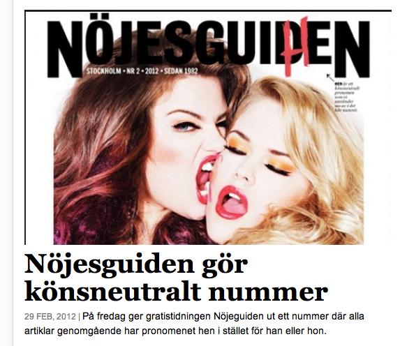 Revista Nöjesguiden en su versión HEN (neutral en cuestiones de género)