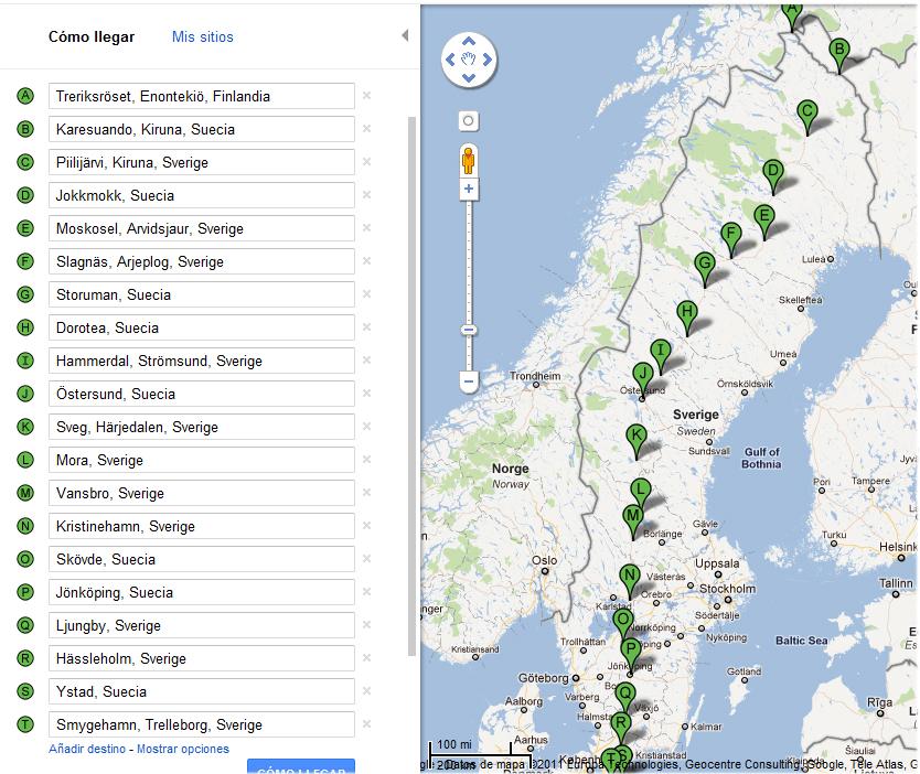 Mapa de la ruta para cruzar Suecia en bici