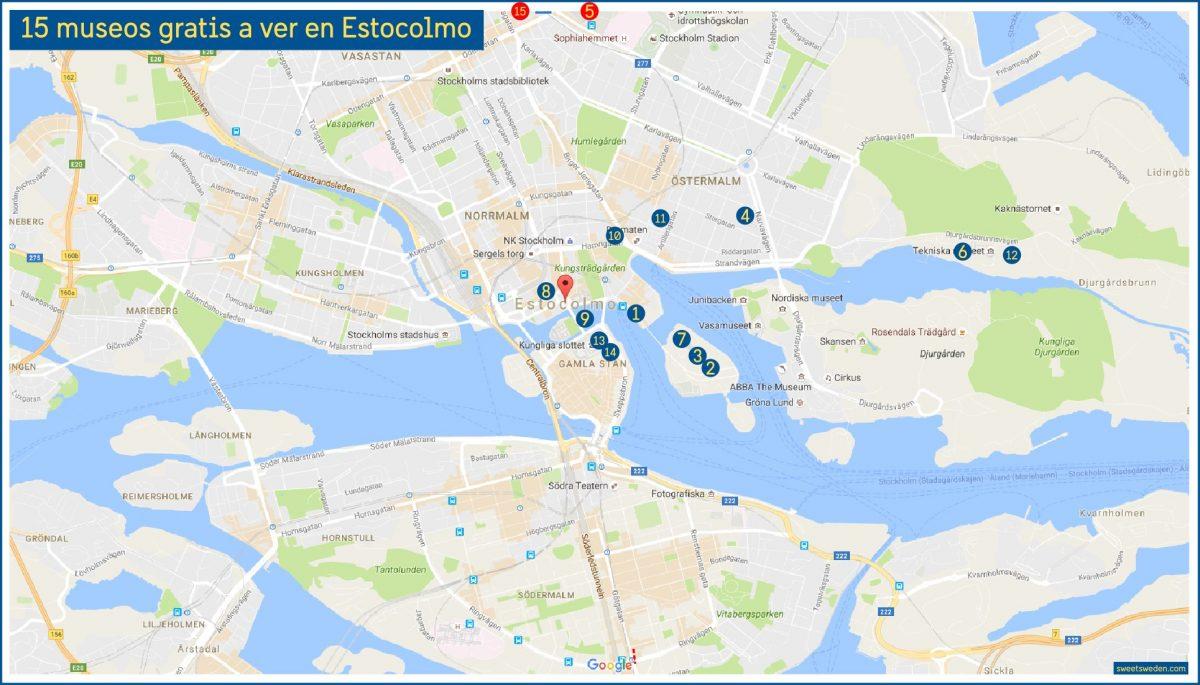 Mapa con los 15 museos gratis a ver en Estocolmo <br> sweetsweden.com