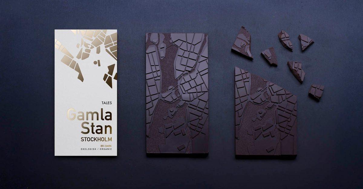 Chocolate 85% cacao con motivo Gamla Stan, Estocolmo <br> Foto: TALES Chocolate