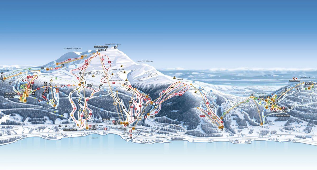 Mapa de las pistas de esquí y servicios en Åre <br> Foto: Henrik Reintz / SkiStar