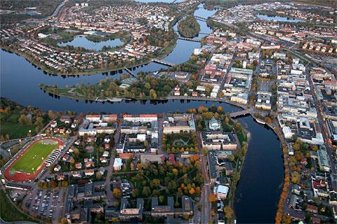 Vista aérea de Karlstad, foto: Peter Chakraborty