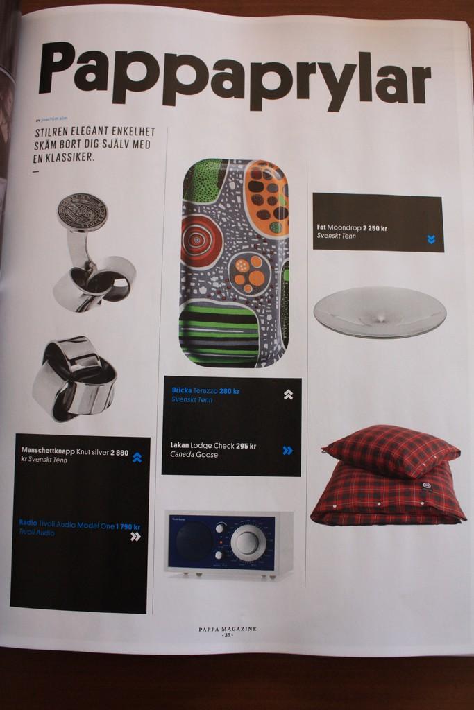 Revista sueca Pappa. Gadgets para papá