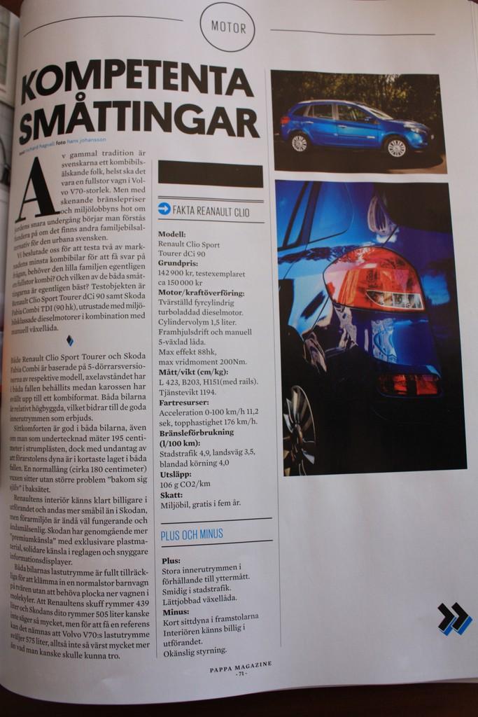 Revista sueca Pappa. Artículo sobre motor