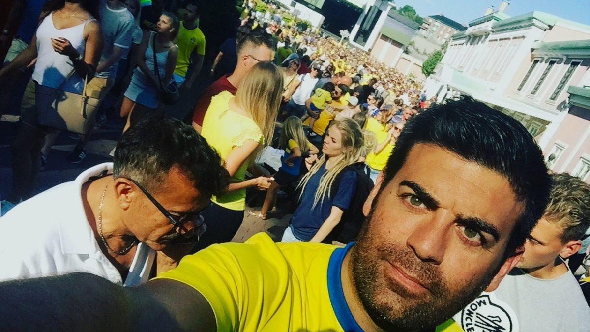 Yo en Liseberg para el Suecia - Inglaterra de julio de 2018 <br> Foto: Israel Úbeda / sweetweden.com