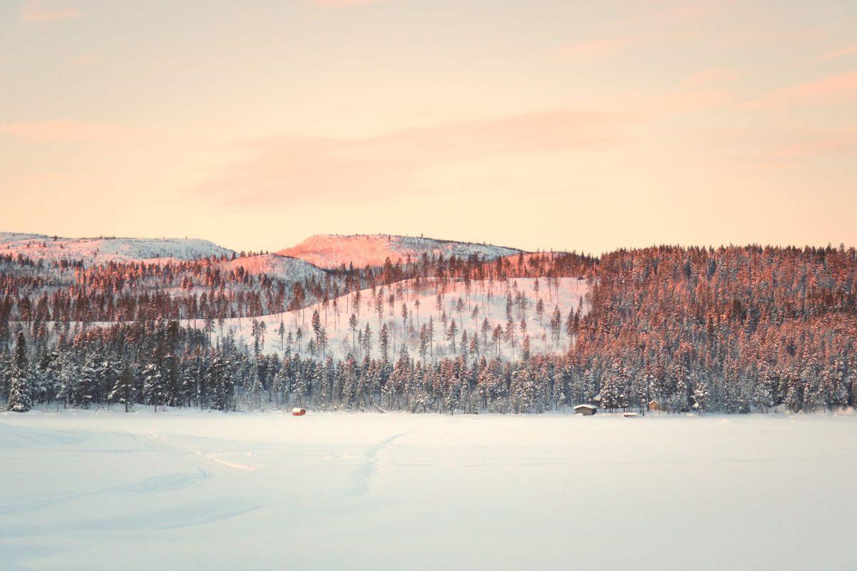 Paisaje nevado de la Laponia sueca
