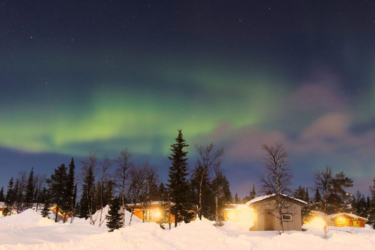 Aurora boreal en Kiruna, Suecia <br> Foto: Israel Úbeda / sweetsweden.com