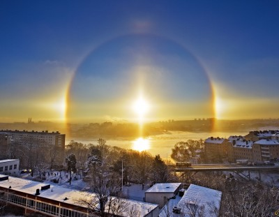 Estocolmo bajo un halo solar