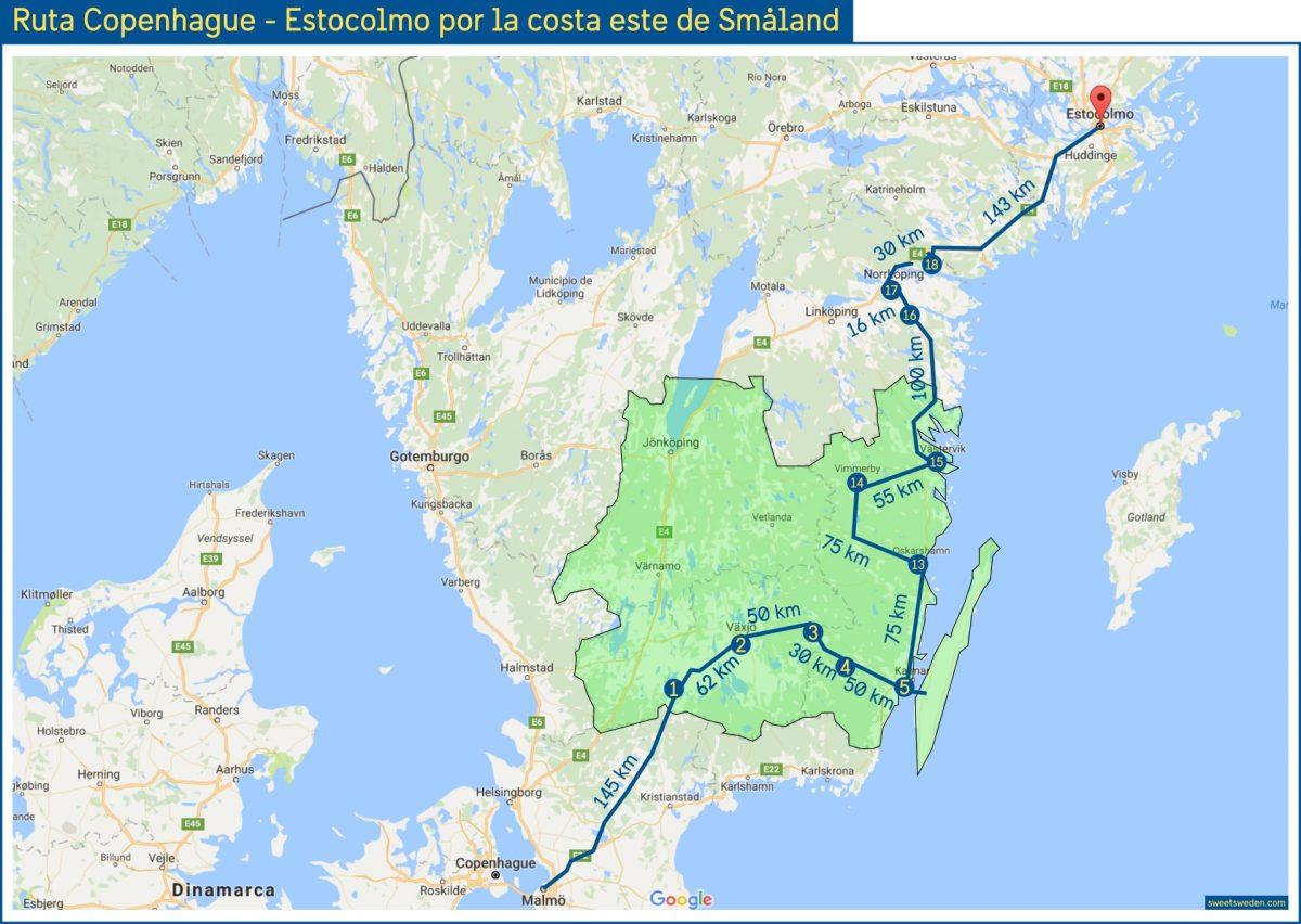 Ruta en coche de Copenhague a Estocolmo por la costa este de Småland <br> sweeetsweden.com