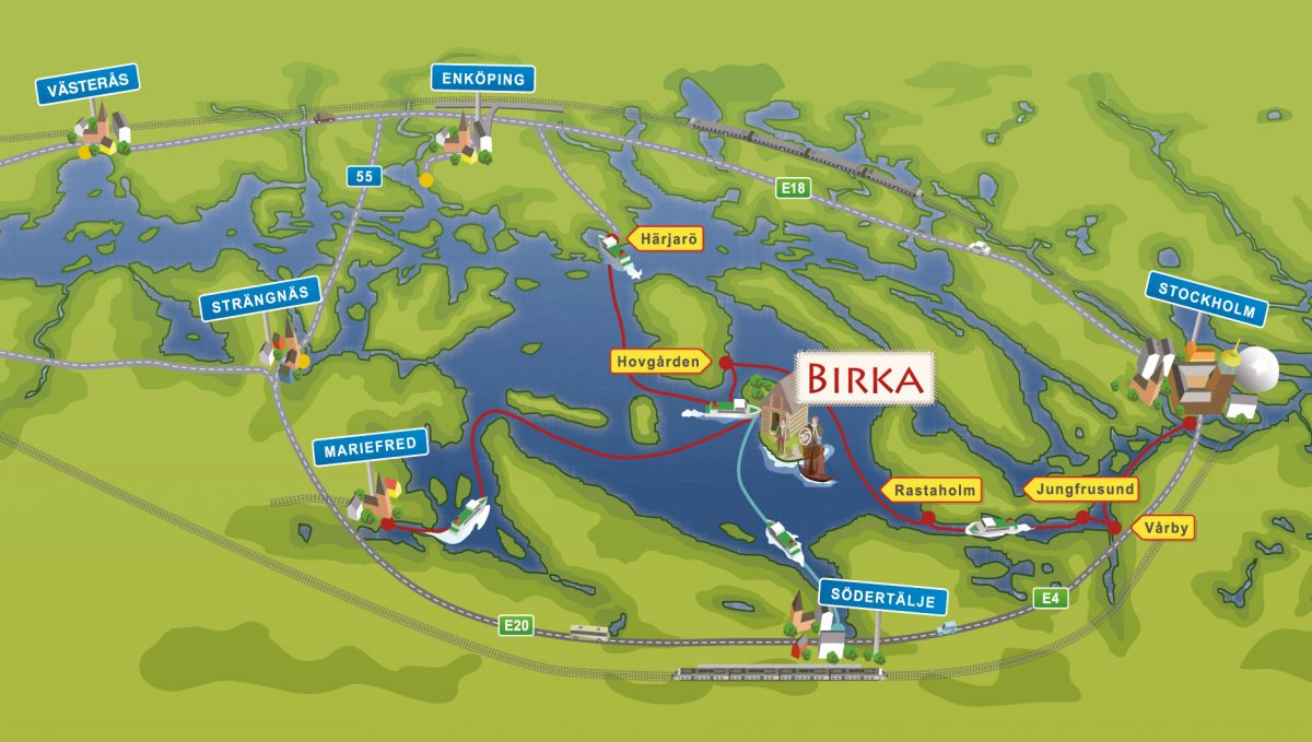 Ruta de los barcos a Birka <br> Imagen: Strömma